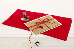 Valentine greeting card on red napkin Royalty Free Stock Photo