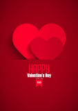 Valentine greeting card with red paper heart, vector illustration Stock Photography