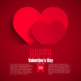 Valentine greeting card with red paper heart, vector illustration Royalty Free Stock Photo