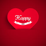 Valentine greeting card with red paper heart, vector illustration Stock Images