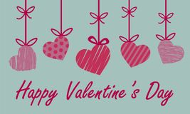 Valentine greeting card with red and pink heart with different s Stock Images