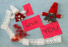 Valentine, greeting card with red quilling heart and  knitting c Royalty Free Stock Photos