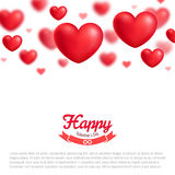 Valentine greeting card, red realistic hearts, vector illustration Stock Photo