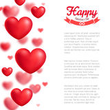 Valentine greeting card, red realistic hearts, vector illustration Royalty Free Stock Photos