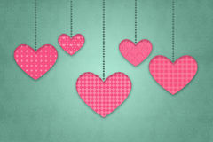 Valentine greeting card with retro heart shapes on green background Royalty Free Stock Photography