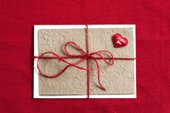 Valentine or birthday greeting card. Valentines day or birthday greeting card on red background Stock Image