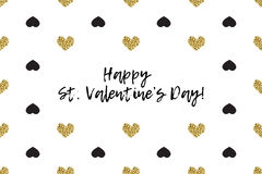 Valentine greeting card with text, black and gold hearts Stock Images