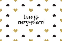 Valentine greeting card with text, black and gold hearts Royalty Free Stock Image
