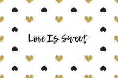 Valentine greeting card with text, black and gold hearts Royalty Free Stock Photos