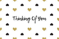 Valentine greeting card with text, black and gold hearts Royalty Free Stock Photography