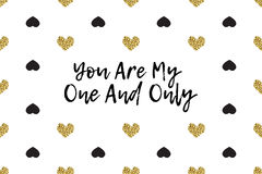 Valentine greeting card with text, black and gold hearts Stock Photo