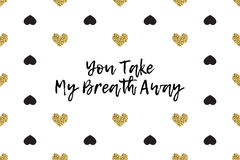 Valentine greeting card with text, black and gold hearts Royalty Free Stock Images