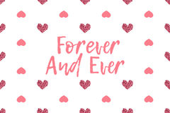 Valentine greeting card with text and pink hearts Royalty Free Stock Images