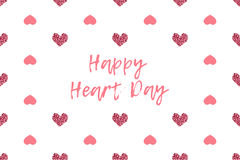 Valentine greeting card with text and pink hearts Stock Images