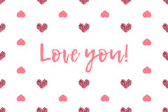 Valentine greeting card with text and pink hearts Stock Image