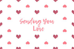 Valentine greeting card with text and pink hearts Royalty Free Stock Photography