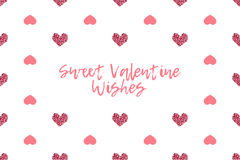 Valentine greeting card with text and pink hearts Stock Photography