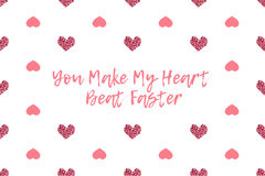 Valentine greeting card with text and pink hearts Royalty Free Stock Image