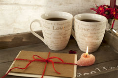 Valentine or birthday greeting card with two cups  Royalty Free Stock Photos