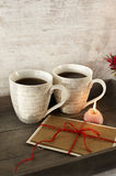 Valentine or birthday greeting card with two cups  Royalty Free Stock Images