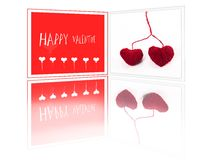 Valentine greeting card with two red fibre hearts Royalty Free Stock Photos
