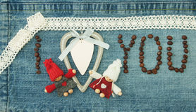 Valentine, greeting card with wooden white heart,coffee beans an Stock Photos