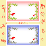 Valentine greeting cards, frame from flowers and hearts. vector illustration
