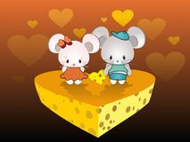 Mice lovers and cheese heart Royalty Free Stock Image