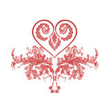 Valentine Greeting floral ornaments and heart Stock Photos