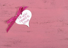 Valentine greeting heart shape gift tag Royalty Free Stock Photos