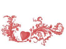 Valentine Greeting red heart with ornaments Stock Images