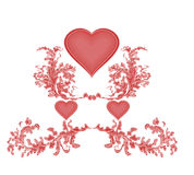 Valentine Greeting with three red hearts and ornam Royalty Free Stock Images