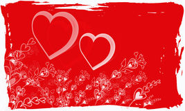 Valentine grunge. A valentine grunge image red and white with hearts and flower design Stock Image