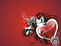 Valentine grunge heart floral Stock Images