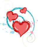 Valentine grunge heart vrs8. Grunge style vector computer illustration of red valentine hearts Royalty Free Stock Photos