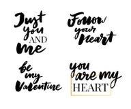 Valentine' grupo do dia de s de símbolos calligraphy Ilustração do vetor Cinza no fundo branco ilustração royalty free