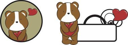Valentine hamster cartoon heart hug copyspace Royalty Free Stock Image