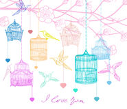 Valentine hand drawing background. With birds, flowers and cage, beautiful illustration Royalty Free Stock Photos