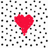 Valentine Hand Drawn Card Polka Dots Stock Image