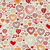 Valentine hand drawn pattern. Valentine hand drawn seamless pattern with color hearts Royalty Free Stock Image
