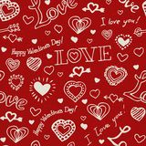 Valentine hand drawn pattern. Valentine hand drawn seamless red pattern with white hearts and words Stock Photo