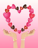 Valentine hands Royalty Free Stock Image