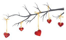 Valentine Hang-up. Vector graphic of Valentines tied and hung in a tree branch Royalty Free Stock Photo