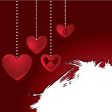 Valentine hanging hearts background Royalty Free Stock Image