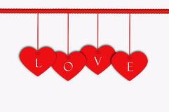 Valentine Hanging label with Red Rope. Background vector illustration