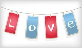 Valentine hanging labels. Stock Photos