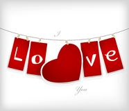 Valentine hanging labels. Royalty Free Stock Photography