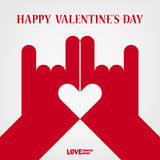 Valentine happy love hand sign. And heart shape on white background Royalty Free Stock Photography
