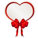 Valentine-hart bwith boog en lint Stock Afbeeldingen