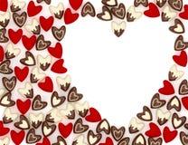 Valentine-hart van vele kleine roze fluweelharten dat wordt gemaakt Royalty-vrije Stock Afbeeldingen